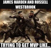 Harden had 51, 13, and 13 yesterday! 😳 Battle of the Triple Doubles! 😂 Who do you think is gonna win MVP? nbamemes nba_memes_24: JAMES HARDEN AND RUSSELL  WESTBROOK  @nba memes 24  TRYING TO GET MVP LIKE Harden had 51, 13, and 13 yesterday! 😳 Battle of the Triple Doubles! 😂 Who do you think is gonna win MVP? nbamemes nba_memes_24