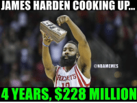 James Harden after signing the largest contract extension in NBA history! #RocketsNation: JAMES HARDEN COOKING UP..  @NBAMEMES  GIETS  4 YEARS, $228 MILLION James Harden after signing the largest contract extension in NBA history! #RocketsNation