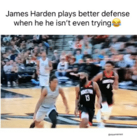 Basketball, Facts, and James Harden: James Harden plays better defense  when he he isn't even trying Facts smh 😂 (Via ‪TheHoopCentral‬-Twitter)