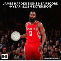 James Harden, Nba, and Sports: JAMES HARDEN SIGNS NBA RECORD  4-YEAR, $228M EXTENSION  OCKETS  13  t.  B R  PER ADRIAN WOJNAROWSKI The bag is secured, @jharden13. 💰