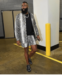 Fashion, James Harden, and Los Angeles Lakers: James Harden was channeling his inner Migos before takin' on LeBron and the Lakers ... showing up to the game Thursday in a full Versace snakeskin short-suit. You feelin' it? 🤔 tmz jamesharden nba rockets tmzsports fashion versace