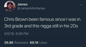 Black dont crack: James  @JamesMontanaa  Chris Brown been famous since I was in  3rd grade and this nigga still in his 20s  5/5/18, 8:08 PM  26.8K Retweets 69.1K Likes Black dont crack