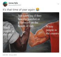 White People, Black, and Time: James Kyle  @JamesKy45916301  It's that time of year again  Not knowing if they  heard a gunshot or  a firework on the  White  people in  the country  urth of July  Black  people in  the ci  8:09 PM - 30 Jun 2018