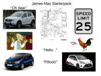 """Hello, James May, and Starter Packs: James May Starterpack  17  """"Oh dear""""  19  65  63  SPEED  LIMIT  16  17  24  -23  CARBUNETOR  15  21  25  32  CARBURETOR  36  12.  39 29  12  45.  14  47  61 口  50 49  912 series  A., LOCTITE 24  """"Oh  17  Hello  """"Pillock!""""  Sandero"""