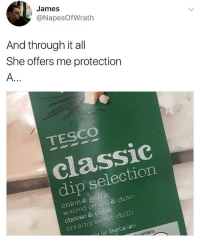 Memes, Chive, and Onion: James  @NapesOfWrath  And through it all  She offers me protection  TESCO  classic  dip selection  onion & garlic  soured cream & chive  cheese & chive  creamy sweet chilli  for Vegetarians  tc  ontains Follow @lolmynegga for the funniest memes in 2018🔥