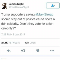 Trump Support: James Night  @Real James Night  Trump supporters saying  #Meryl Streep  should stay out of politics cause she's a  rich celebrity. Didn't they vote for a rich  Celebrity??  7:28 PM 8 Jan 2017  24.1K  RETWEETS  43K  LIKES