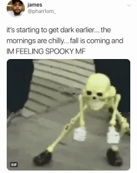 Fall, Gif, and Relatable: james  @phanlom_  it's starting to get dark earlier... the  mornings are chilly... fall is coming and  IM FEELING SPOOKY MF  GIF SPOOKY hours start....... NOW