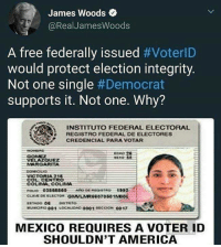 America, Memes, and Free: James Woods  @RealJamesWoods  A free federally issued #VoterlD  would protect election integrity.  Not one single #Democrat  supports it. Not one. Why?  İNSTITUTO FEDERAL ELECTORAL  REGISTRO FEDERAL DE ELECTORES  raxCREDENCIAL PARA VOTAR  VELAZOUEZ  MARGARITA  COL CENTRO  COLIAA. COLIMA  MEXICO REQUIRES A VOTER ID  SHOULDN'T AMERICA