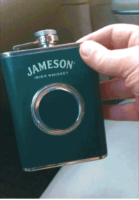 novelty-gift-ideas:Shot Glass in a Flask: JAMESON  IRISH WHISKEY novelty-gift-ideas:Shot Glass in a Flask