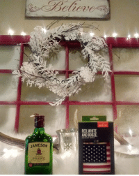 Irish, Memes, and Cheerfulness: JAMESON  IRISH WHISKEY  RED, WHITE  AND BOOZE  Gob BLESS HERICA MerryChristmas everyone 😘😘!!! (My family Knows me so well , good game bro in law you're my bro 4 lyfe !!! ) jamo jameson cheers red remembereveryonedeployed hohoho blessed thankful