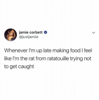 lol i do this too: jamie corbett  @justjamiie  Whenever I'm up late making food l feel  like l'm the rat from ratatouille trying not  to get caught lol i do this too