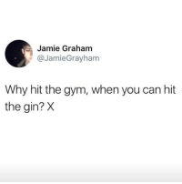 Gym, Memes, and 🤖: Jamie Graham  @JamieGrayham  Why hit the gym, when you can hit  the gin? X Cheers 🍸 Follow @confessionsofablonde @confessionsofablonde @confessionsofablonde