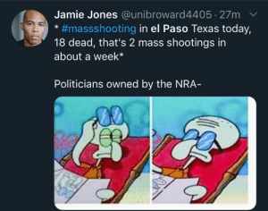 We are becoming used to mass shooting in America by LORE-above-ALL09 MORE MEMES: Jamie Jones @unibroward4405 27m  #massshooting in el Paso Texas today,  18 dead, that's 2 mass shootings in  about a week*  Politicians owned by the NRA- We are becoming used to mass shooting in America by LORE-above-ALL09 MORE MEMES