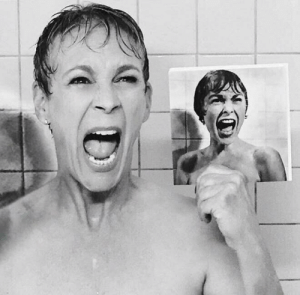 Shower, Jamie Lee Curtis, and Psycho: Jamie Lee Curtis recreates her mother's famous shower scene from Alfred Hitchcock's 1960 film Psycho.