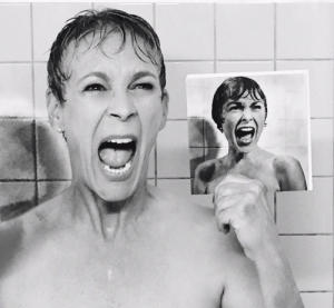 """Shower, Jamie Lee Curtis, and Psycho: Jamie Lee Curtis recreates the iconic """"Psycho"""" shower scene that originally featured her mother, Janet Leigh"""