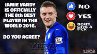 Jamie: JAMIE VARDY  IS OFFICIALLY  THE 8th BEST  PLAYER IN THE  WORLD 2016.  DO YOU AGREE?  NO  CO) YES  DONT  GIVE A  F*CK