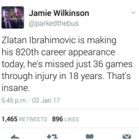Memes, Zlatan Ibrahimovic, and 🤖: Jamie Wilkinson  Caparkedthebus  Zlatan Ibrahimovic is making  his 820th career appearance  today, he's missed just 36 games  through injury in 18 years.  That's  In Sane  5:45 p.m. 02 Jan 17  1,465  RETWEETS 896 LIKES Impressive.