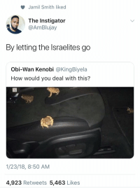 Blackpeopletwitter, Funny, and Obi-Wan Kenobi: Jamil Smith liked  The Instigator  @AmBlujay  By letting the Israelites go  Obi-Wan Kenobi @KingBiyela  How would you deal with this?  1/23/18, 8:50 AM  4,923 Retweets 5,463 Likes Let my people go!