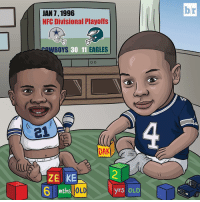 Sports, Eagle, and Nfc: JAN 1, 1996  NFC Divisional Playoffs  EAGLES  AWBOYS  30 11  21  DAK  ZEKE  mths OLD  yrs  OLD  br DemBoyz were babies the last time the Cowboys won an NFC Divisional Playoff game