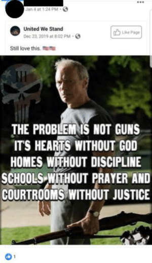 Sometimes other people make me sad: Jan 4 at 1:24 PM -  United We Stand  A Like Page  Dec 23, 2019 at 8:02 PM 6  Still love this.  THE PROBLEM IŠ NOT GUNS  IT'S HEARTS WITHOUT GOD  HOMES WITHOUT DISCIPLINE  SCHOOLS WITHOUT PRAYER AND  COURTROOMS WITHOUT JUSTICE Sometimes other people make me sad