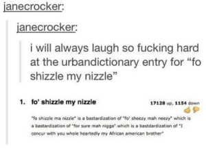 "Fucking, American, and Concur: janecrocker  anecrocker;  i will always laugh so fucking hard  at the urbandictionary entry for ""fo  shizzle my nizzle""  1. fo' shizzle my nizzle  17128 up, 1154 down  ""fo shizzle ma nizzle"" is a bastardization of ""fo' sheezy mah neezy"" which is  a bastardization of ""for sure mah nigga"" which is a bastdardization of ""I  concur with you whole heartedly my African american brother fo shizzle"