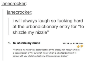 "fo shizzle my nizzleomg-humor.tumblr.com: janecrocker:  janecrocker:  i will always laugh so fucking hard  at the urbandictionary entry for ""fo  shizzle my nizzle""  1. fo' shizzle my nizzle  17128 up, 1154 down  ""fo shizzle ma nizzle"" is a bastardization of ""fo' sheezy mah neezy"" which is  a bastardization of ""for sure mah nigga"" which is a bastdardization of ""I  concur with you whole heartedly my African american brother"" fo shizzle my nizzleomg-humor.tumblr.com"