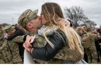 Capt. Thomas DiMiero kisses his wife, Jennifer DiMiero, during a welcome home ceremony at Fort Hood, Texas, on Tuesday, Feb. 14, 2017. The couple was reunited after his nine-month deployment to Afghanistan, where he served with 199 soldiers from the Army's 3rd Cavalry Regiment. The soldiers advised the Afghanistan Army and local and national police and worked on village stabilization operations. valentines: Janne tin American-Statesman via AP) Capt. Thomas DiMiero kisses his wife, Jennifer DiMiero, during a welcome home ceremony at Fort Hood, Texas, on Tuesday, Feb. 14, 2017. The couple was reunited after his nine-month deployment to Afghanistan, where he served with 199 soldiers from the Army's 3rd Cavalry Regiment. The soldiers advised the Afghanistan Army and local and national police and worked on village stabilization operations. valentines