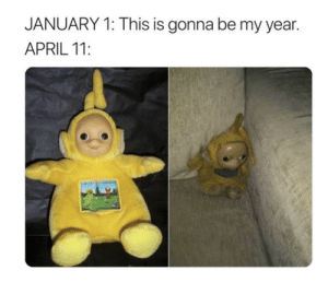 All too real: JANUARY 1: This is gonna be my year.  APRIL 11: All too real