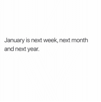 Memes, Omg, and 🤖: January is next week, next month  and next year. Omg!