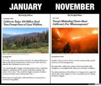 "BACK IN JANUARY, THE NEW YORK TIMES AGREED WITH PRESIDENT TRUMP THAT CALIFORNIA NEEDED TO IMPROVE ITS FORESTRY MANAGEMENT  Editorial by Kevin Ryan  The deadliest and most destructive fire in California's history was finally brought under control by firefighters yesterday, more than two weeks after it erupted.  So far 87 people are confirmed to have been killed in the blaze, and many are still missing.  But the media firestorm continues over President Trump's assertion that poor forest management contributed to the disaster.  After Trump tweeted that better forest management could have prevented, or at least mitigated, the damage caused by the devastating wildfires, the media and California politicians said his assertion was false.  A spokesman for California Governor Jerry Brown said that the president's assertion was ""inane"" and ""uninformed.""  The New York Times wrote a piece entitled ""Trump's Misleading Claims About California's Fire 'Mismanagement'""  Yet just a few months back, both Governor Brown and The New York Times said basically the same thing as Trump.  In a January article, the Times wrote that ""A group of scientists warned in the journal BioScience that [100 million] dead trees could produce wildfires on a scale and of an intensity that California has never seen,"" and that ""scientists say they cannot even calculate the damage the dead-tree fires might cause; it exceeds what their current fire behavior modeling can simulate.""  ""'It's something that is going to be much more severe,' said Scott Stephens, a professor of fire science at Berkeley and the lead author of the study. 'You could have higher amounts of embers coming into home areas, starting more fires.'""  The Times article even pointed the finger at California's forestry regulations, saying ""California forests are much more vulnerable now because, paradoxically, they have been better protected. In their natural state, forests were regularly thinned by fire but the billions of dollars that the state spends aggressively fighting wildfires and restrictions on logging have allowed forests to accumulate an overload of vegetation… That's a scenario that could nudge the state into rethinking its forest management.""  And yet, fast forward to today, and The New York Times is suddenly interviewing ""experts"" to contradict its previous assertions now that President Trump has also questioned California's forest management.  ""President Trump's statements, which drew outrage from local leaders and firefighters, oversimplified the cause of California's wildfires."" The Times says that the logging advocated by Trump, Republicans, and, apparently, The New York Times last January, would not have helped because ""logging gets rid of trees, but it does not get rid of the kindling — brush, bushes and twigs. Logging does, however, enable the spread of cheatgrass, a highly combustible weed, which makes a forest more likely to burn.""  That's basically the opposite of what the Times' said earlier this year.  And it's not just the media reversing itself to discredit Trump.  Governor Brown's office was calling for the same changes to logging regulations just a few months ago.  In order to mitigate the fire danger from dead trees, Brown proposed that landowners be permitted to cut trees up to 36 inches in diameter, a jump from the current 26 inches, on properties that are 300 acres or less without getting a timber harvest permit and would also be able to build roads up to 600 feet long.  Of course the environmental lobby opposed it.  And now huge swaths of land that environmentalists were ""protecting"" are now embers.  But Brown, and the media, would rather reverse their recent calls for safer forestry management than to agree with the president.    SOURCES: https://www.nytimes.com/2018/01/19/us/california-today-100-million-dead-trees-prompt-fears-of-giant-wildfires.html https://www.nytimes.com/2018/11/12/us/politics/fact-check-trump-california-fire-tweet.html https://www.foxnews.com/politics/trump-hammered-for-california-wildfire-claims-but-gov-brown-has-also-backed-new-forest-management-measures: JANUARY NOVEMBER  TheAew JJork Eimes  TheAewJjorkTimes  FACT CHECK  CALIFORNIA TODAY  California Today: 100 Million Dead  Trees Prompt Fears of Giant Wildfires  Trump's Misleading Claims About  California's Fire Mismanagement'  Patches of dead and dying trees near Cressman, Calif  By Thomas Fuller  lan. 19, 2018  By Kendra Pierre-Louis  This week a group of scientists warned in the journal BioScience President Trump took to Twitter over the weekend, blaming the  that the dead trees could produce wildfires on a scale and of an  infernos on forest management...  intensity that California has never seen  Stephens, a professor of fire science at Berkeley and the lead  coming into home areas, starting more fires.""..  Restrictions on logging have allowed forests to accumulate an  His statements, which drew outrage from local leaders and  It's something that is going to be much more severe,"" said Scott firefighters, oversimplified the causes of California's wildfires...  author of the study. ""You could have higher amounts of embers The administration and Republicans in Congress have supported  calls by the timber industry to clear out potential fuel by letting  the land be logged...  overload of vegetation.  Unbiased Amer BACK IN JANUARY, THE NEW YORK TIMES AGREED WITH PRESIDENT TRUMP THAT CALIFORNIA NEEDED TO IMPROVE ITS FORESTRY MANAGEMENT  Editorial by Kevin Ryan  The deadliest and most destructive fire in California's history was finally brought under control by firefighters yesterday, more than two weeks after it erupted.  So far 87 people are confirmed to have been killed in the blaze, and many are still missing.  But the media firestorm continues over President Trump's assertion that poor forest management contributed to the disaster.  After Trump tweeted that better forest management could have prevented, or at least mitigated, the damage caused by the devastating wildfires, the media and California politicians said his assertion was false.  A spokesman for California Governor Jerry Brown said that the president's assertion was ""inane"" and ""uninformed.""  The New York Times wrote a piece entitled ""Trump's Misleading Claims About California's Fire 'Mismanagement'""  Yet just a few months back, both Governor Brown and The New York Times said basically the same thing as Trump.  In a January article, the Times wrote that ""A group of scientists warned in the journal BioScience that [100 million] dead trees could produce wildfires on a scale and of an intensity that California has never seen,"" and that ""scientists say they cannot even calculate the damage the dead-tree fires might cause; it exceeds what their current fire behavior modeling can simulate.""  ""'It's something that is going to be much more severe,' said Scott Stephens, a professor of fire science at Berkeley and the lead author of the study. 'You could have higher amounts of embers coming into home areas, starting more fires.'""  The Times article even pointed the finger at California's forestry regulations, saying ""California forests are much more vulnerable now because, paradoxically, they have been better protected. In their natural state, forests were regularly thinned by fire but the billions of dollars that the state spends aggressively fighting wildfires and restrictions on logging have allowed forests to accumulate an overload of vegetation… That's a scenario that could nudge the state into rethinking its forest management.""  And yet, fast forward to today, and The New York Times is suddenly interviewing ""experts"" to contradict its previous assertions now that President Trump has also questioned California's forest management.  ""President Trump's statements, which drew outrage from local leaders and firefighters, oversimplified the cause of California's wildfires."" The Times says that the logging advocated by Trump, Republicans, and, apparently, The New York Times last January, would not have helped because ""logging gets rid of trees, but it does not get rid of the kindling — brush, bushes and twigs. Logging does, however, enable the spread of cheatgrass, a highly combustible weed, which makes a forest more likely to burn.""  That's basically the opposite of what the Times' said earlier this year.  And it's not just the media reversing itself to discredit Trump.  Governor Brown's office was calling for the same changes to logging regulations just a few months ago.  In order to mitigate the fire danger from dead trees, Brown proposed that landowners be permitted to cut trees up to 36 inches in diameter, a jump from the current 26 inches, on properties that are 300 acres or less without getting a timber harvest permit and would also be able to build roads up to 600 feet long.  Of course the environmental lobby opposed it.  And now huge swaths of land that environmentalists were ""protecting"" are now embers.  But Brown, and the media, would rather reverse their recent calls for safer forestry management than to agree with the president.    SOURCES: https://www.nytimes.com/2018/01/19/us/california-today-100-million-dead-trees-prompt-fears-of-giant-wildfires.html https://www.nytimes.com/2018/11/12/us/politics/fact-check-trump-california-fire-tweet.html https://www.foxnews.com/politics/trump-hammered-for-california-wildfire-claims-but-gov-brown-has-also-backed-new-forest-management-measures"