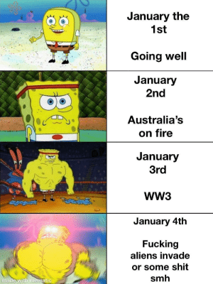What's gonna happen tomorrow: January the  1st  Going well  January  2nd  Australia's  on fire  January  3rd  WW3  తైతడద్  January 4th  Fucking  aliens invade  or some shit  smh  made with mematic What's gonna happen tomorrow
