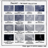 January ❄️ januaryblues: JANUARY THE PAINT coLLECTION  5420-3  420C-3  610F-2  420C-7  FOREBODING IMPENDING GLOOM  PESSIMISM  MALAISE  65SC-8  567P-3  563F-4  785J-8  DESPONDENCY BROKEN LIGHT  BAD DECISIONS  APATHY  THERAPY BOX  674C-2  984K-2  342  417C  FORGOTTEN JOY PERSISTENT ACHES NOTHINGNESS MISPLACED OPTIMISM  AND PAINS  589C-8  664C-27  342 F-8  418C-q  POSSIBLE VITAMIN FROZEN PUDDLE  UNSHAKABLE  ABJECT DESPAIR  D DEFICIENCY  HOPELESSNESS  FOUR eyes BY GEMMA CORRELL 2014 January ❄️ januaryblues