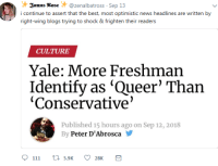 Rose, Yale, and Conservative: Janus Rose @zenalbatross Sep 13  right-wing blogs trying to shock & frighten their readers  CULTURE  Yale: More Freshman  Identify as 'Queer' Than  'Conservative'  Published 15 hours ago on Sep 12, 2018  By Peter D'Abrosca  111 t 5.9K 28K
