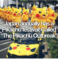 Anime, Facts, and Memes: Japan annually has a  Pkachu festival! called  inThe Pikachu Outbreak  lgeonlme senpais QOTD: Do you play Pokémon? | Follow @animee for Anime Facts | 🔥 . . Cr. @