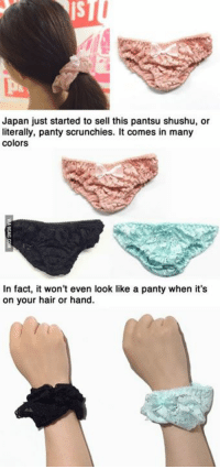 Japan just started to sell this pantsu shushu, or  literally, panty scrunchies. It comes in many  colors  In fact, it won't even look like a panty when it's  on your hair or hand. Panty-Scrunchies. Japan you never cease to amaze us. http://9gag.com/gag/a3LK9Ae?ref=fbp