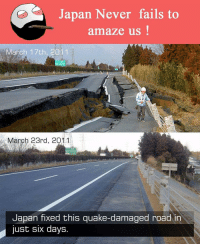 quake: Japan Never fails to  amaze us  arch 17th, 2011  March 23rd, 2011  Japan fixed this quake-damaged road in  just six days