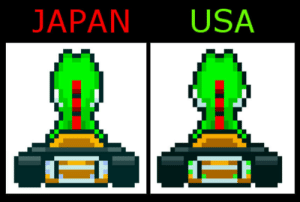 Mario Kart, Super Mario, and Mario: JAPAN USA Yoshis Cheeks are slightly fatter in the American Version of Super Mario Kart