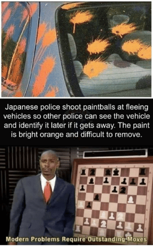 Police, Orange, and Paint: Japanese police shoot paintballs at fleeing  vehicles so other police can see the vehicle  and identify it later if it gets away. The paint  is bright orange and difficult to remove.  Modern Problems Require Outstanding Moves