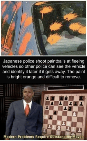 Random Posts For Your Optic Consumption: Japanese police shoot paintballs at fleeing  vehicles so other police can see the vehicle  and identify it later if it gets away. The paint  is bright orange and difficult to remove.  Modern Problems Require Outstanding Moves Random Posts For Your Optic Consumption