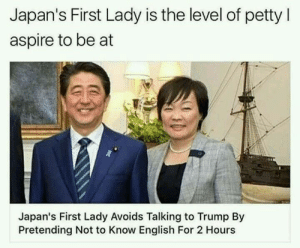 Not all heroes wear capes!!: Japan's First Lady is the level of petty l  aspire to be at  Japan's First Lady Avoids Talking to Trump By  Pretending Not to Know English For 2 Hours Not all heroes wear capes!!