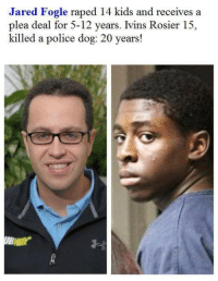 "Fucking, Jared Fogle, and Juvenile: Jared Fogle raped 14 kids and receives a  plea deal for 5-12 years. Ivins Rosier 15,  killed a police dog: 20 years! <p><a class=""tumblr_blog"" href=""http://european-traditionalist.tumblr.com/post/128926743166"">european-traditionalist</a>:</p> <blockquote> <p><a class=""tumblr_blog"" href=""http://jehovahhthickness.tumblr.com/post/127238444113"">jehovahhthickness</a>:</p> <blockquote> <p><a class=""tumblr_blog"" href=""http://simplyyfuckingblazinn.tumblr.com/post/127238388364"">simplyyfuckingblazinn</a>:</p> <blockquote> <p><a class=""tumblr_blog"" href=""http://jehovahhthickness.tumblr.com/post/127238161473"">jehovahhthickness</a>:</p> <blockquote> <p>EVERYBODY SAY ""WHITE PRIVILEGE!"" KEEP IT GOING!</p> </blockquote> <p>I cannot fucking deal with The United States anymore</p> </blockquote> <p>^^^^^ White folks are disgusting everywhere</p> </blockquote> <p>Ivins Rosier  was convicted of   <b>animal cruelty, armed burglary and shooting into an occupied building.</b> Rosier's attorneys, Jack Fleishman and Rachel Preefer, asked Judge Rosenberg to sentence the teen as a juvenile with a six-year prison terms. However she said she didn't feel that was appropriate after the court heard Rosier had faced previous juvenile charges for<b> grand theft, battery, lewd and lascivious molestation and false imprisonment</b>.<br/></p> <p>What an impressive resume for a 15 year old. Just imagine if the White man wasn't holding him down!?</p> <p>Strange how you guys failed to mention that.. must have.. slipped your minds… ;)<br/><br/></p> </blockquote>  <p>Jared Fogle is pure human garbage and should be in prison for the rest of his days or executed immediately. But stuff it with your misinformed &ldquo;white privilege&rdquo; BS.</p>"