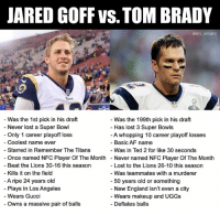 Af, England, and Gucci: JARED GOFF vS. TOM BRADY  @NFL MEMES  Was the 1st pick in his draft  Never lost a Super Bowl  Only 1 career playoff loss  Was the 199th pick in his draft  - Has lost 3 Super Bowls  A whopping 10 career playoff losses  - Basic AF name  Was in Ted 2 for like 30 seconds  Never named NFC Player Of The Month  - Lost to the Lions 26-10 this season  - Was teammates with a murderer  - Coolest name ever  Starred in Remember The Titans  Once named NFC Player Of The Month  Beat the Lions 30-16 this season  Kills it on the field  A ripe 24 years old  Plays in Los Angeles  Wears Gucci  50 years old or something  New England isn't even a city  Wears makeup and UGGs  - Owns a massive pair of balls  - Deflates balls Your Super Bowl 53 QB Matchup