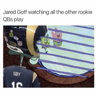 Memes, Jared, and Taps: Jared Goff watching all the other rookie  QBs play  GOFF 😂😂 Double tap