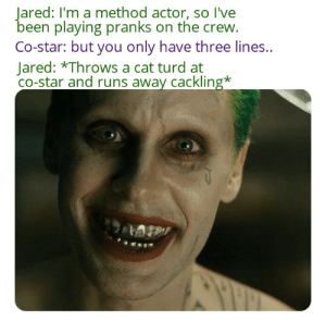 Jared Leto's joker: Jared: I'm a method actor, so I've  been playing pranks on the crew.  Co-star: but you only have three lines.  Jared: *Throws a cat turd at  Co-star and runs away cackling* Jared Leto's joker