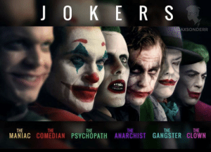 Jared Leto's Joker looks cringy af next to the other Jokers.: Jared Leto's Joker looks cringy af next to the other Jokers.