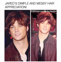 girl yes: JARED'S DIMPLE AND MESSY HAIR  APPRECIATION!  IG @demoniowinchester girl yes