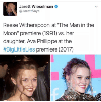 """Memes, Reese's, and 🤖: Jarett Wieselman  @Jarett Says  Reese Witherspoon at """"The Man in the  Moon"""" premiere (1991) vs. her  daughter, Ava Phillippe at the  #BigLittleLies premiere (2017) Remarkable resemblance mother daughter galdembanter dt @itsshenell uberCode:SHENG6 www.instagram.com-isawitandii"""