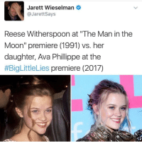 """they are literally the same fucking person i'm fully convinced that reese cloned herself: Jarett Wieselman  @Jarett Says  Reese Witherspoon at """"The Man in the  Moon"""" premiere (1991) vs. her  daughter, Ava Phillippe at the  #BigLittleLies premiere (2017) they are literally the same fucking person i'm fully convinced that reese cloned herself"""