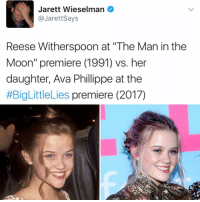 """👯: Jarett Wieselman  JarettSays  Reese Witherspoon at """"The Man in the  Moon"""" premiere (1991) vs. her  daughter, Ava Phillippe at the  #BigLittleLies premiere (2017) 👯"""