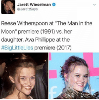 """This is actually so crazy how similar they look 😍💕 Follow me @peopleareamazing for the cutest posts of incredible people: Jarett Wieselman  @JarettSays  Reese Witherspoon at """"The Man in the  Moon"""" premiere (1991) vs. her  daughter, Ava Phillippe at the  #BigLittleLies premiere (2017) This is actually so crazy how similar they look 😍💕 Follow me @peopleareamazing for the cutest posts of incredible people"""